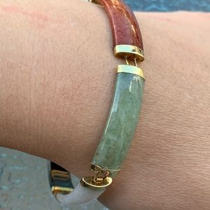 Chinese 14 Kt Gold Multi Color Jade Bracelet